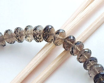 25 Natural Smoky Quartz Faceted  Rondelle Beads 6-7 mm. :gs8165