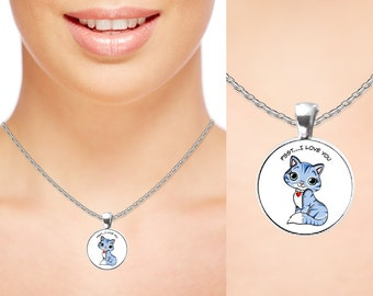 Cat Lover Gift For Her, Crazy Cat Lady Or Not! Silver Cat Necklace Women Love Has Cat Heart Charm, Cat Pendant. Cat Jewelry & Kitty Necklace