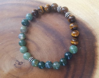 Moss Agate and Tiger Eye beaded stretch bracelet.