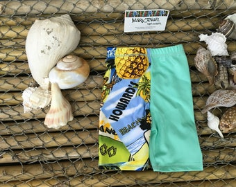 3-6 months two tone mint and tropical print spandex shorts , pants, kids clothes, baby items, toddlers clothes, childrens shorts, fun