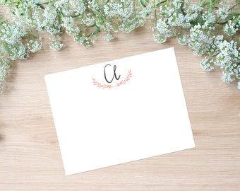 Hand Lettered Calligraphy Stationery / Custom Initial / Custom Stationery / FLAT NOTECARD