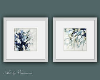 Printable Abstract Art, Instant Digital Download Art, Set of 2 Modern Prints, Contemporary Art, Abstract Flower Painting, Square Art, SizeA3