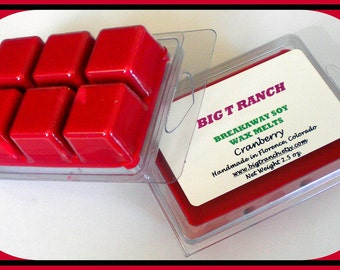 Cranberry - Soy Breakaway Melts - Tarts - Highly Scented - Free U.S. Shipping