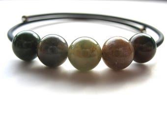 Ocean Jasper Bracelet, Ocean Jasper Stone Bounce Back Cuff Bracelet, Handmade Jasper Jewelry, Made in the USA
