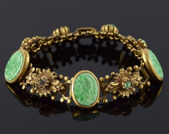 1960's Green Carved Soldier Fancy LinBracelet Gold Plated 7""