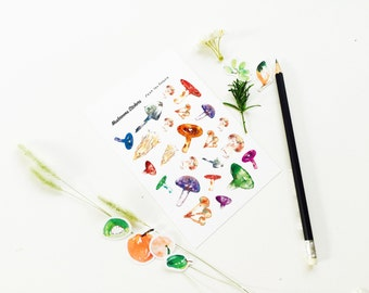 Mushroom Stickers, Mushroom Stickers 002, Planner Stickers, Weekly Stickers, Sticker Art, Erin Condren, Decor Stickers, Botanical, Plant