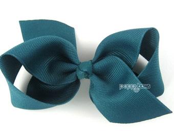 Girls Hair Bow - jade hair bow - Loopy Bows - large hair bows - big hair bows - bows for girls - toddler clip blue hair bow 3.5 inch bows
