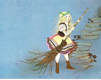 Fairy Tale Print - Hansel Gretel - Vintage Print - Children's Book Plate, Print - Fairy Stories - Doing Chores - Beverlie Manson - 1970s