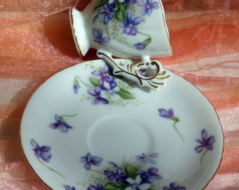 Spring Violets Demitasse Set - Hand Painted, Occupied Japan, Rossetti Chicago - Vintage - Fabulous!