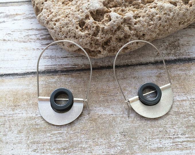 Hoop sterling silver earrings -tribal earrings -geometric earrings -hematite circle stone -half  moon