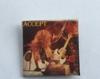 Accept Original 1980s Vintage Dead Stock Square Pin