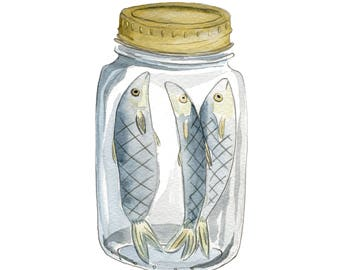 "Pickled Herring - Limited Edition Print of a Watercolour original -  8"" x 10"""