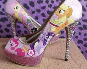 New Ladies My Little Pony high heel shoes size UK 8/41 Pink