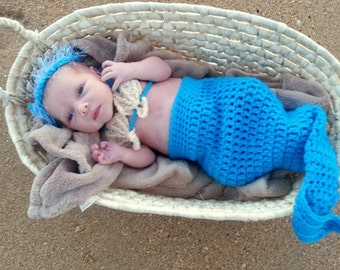Baby Mermaid Cocoon Seashell Bra and Halo - Photo Prop - Newborn Blue or ANY Colors - Baby Girl - Made to Order