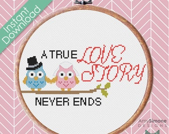 Owl Mr and Mrs Wedding Love Cross Stitch Pattern