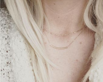 Gold filled choker necklace, Dash, pretty modern jewelry