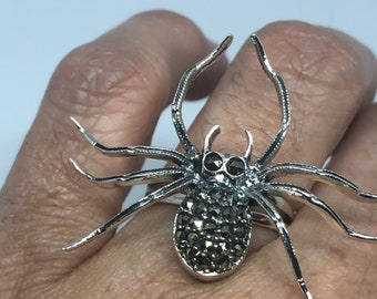 Vintage 1970's 925 Sterling Silver Marcasite Spider Ring