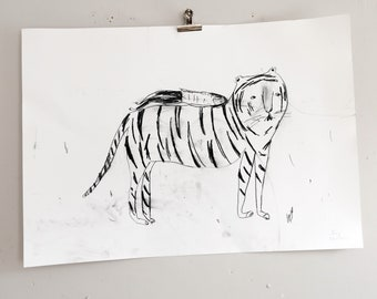 RESERVED     - - - - -   Rest on Your Tiger | Drawing on paper | Faye Moorhouse