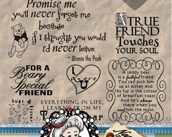 Bears and Friendship, Word Art, Sentiments, Photography Overlay,  Digital  Stamps, Digi,  ID:NV-WA0011 By Nana Vic Instant Download