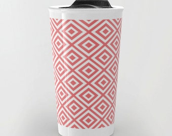 Diamonds Mug - Coffee Mug - Pink and White Geometric Pattern Travel Mug - Aldari Home
