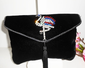 Black Evening Bag, Black Velvet Bag, Sparkly Flamingo, Glamorous Handbag, Black Velvet Clutch, Rhinestone Trim  EB-0146