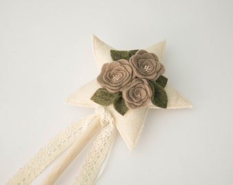 Taupe and Pink Embroidered Felt Floral Fairy Wand, Handmade