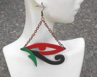 Auge des Horus / / Ägypten / / Afrocentric / / natürliche Holz handbemalt Ohrringe / / Afrikas und der Karibik inspiriert Schmuck