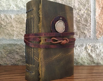 Leather-Bound Journal with handmade paper and bronze cast Roman coin