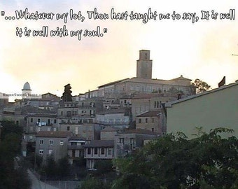 Ripatransone, Italy - picture of Medieval Hilltop Town with Bible Verse - JPG Instant Download - Christian Art