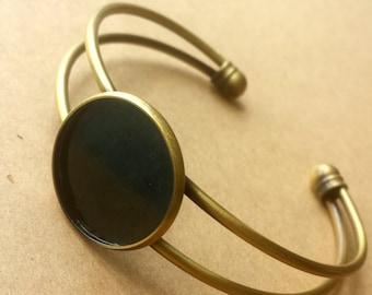 2PCS Brass Antique Bronzed Bracelet with 20mm Round Pad Cabochon Setting BLB01