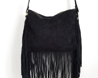 Ladies Crossbody Bag /Tassle Handbag / Black Versatile Fringe Bag/ Suede Bag - Black