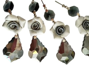 5 Satin Grey 38mm French Cut Chandelier Crystals with Gray Roses Shabby Chic