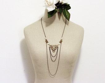 Vintage bridal necklace drape 1920's art nouveau flapper filigree brass crystal jewel great gatsby bronze rhinestone bride wedding