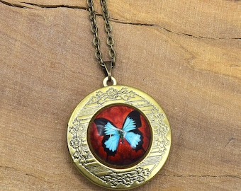 Butterfly Medallion photo cabochon pendants, bronze necklace, personalized jewelry glass cabochon, cabochon blue butterfly