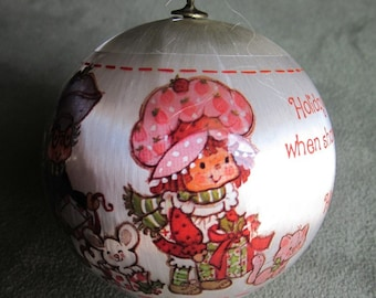 SALE - Strawberry Shortcake Christmas Satin Bulb Ornament