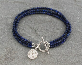 Lapis Lazuli Bracelet, Lapis Bracelet, Multistrand Lapis Toggle Bracelet, Beaded Blue Lapis Jewelry, Rustic Lapis Lazuli Jewelry