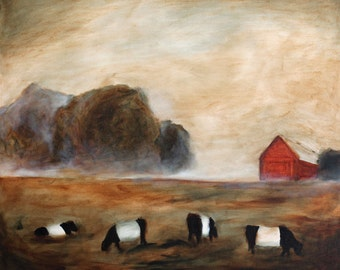 Cows Grazing - archival art print of original oil painting Belted cows art PRINT