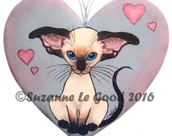 SIAMESE KITTEN CAT painting hanging sign by Suzanne le Good