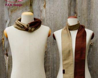 Silk scarf or silk loop, scarf, tube scarf, loop, silk, silk, raw, brown-Champagne, brown-cream, two-color