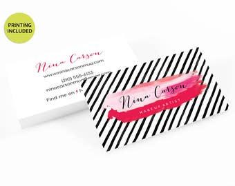 Makeup artist business cards etsy pink makeup modern printed business cards business cardsbusiness card designlipsense muacardsprintingmakeup artistlipsticklips reheart Choice Image