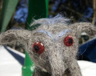 """Wool """"Imp"""" one of a kind OOAK hand made fantasy animal."""