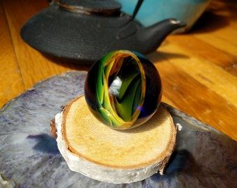 Handmade Fumed WigWag Vortex Meditation Marble, Glass Marble, Meditation Gift, Art Marble, Fumed Marble, Yoga Gift, Vortex Marble