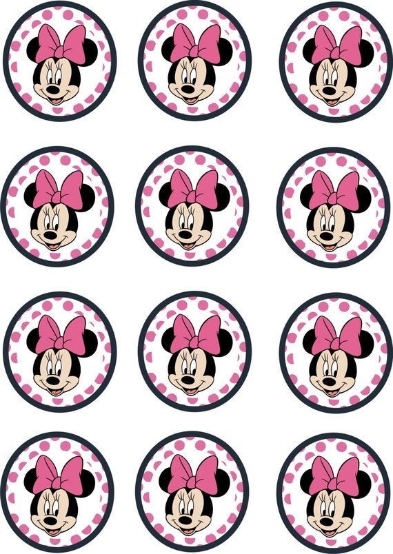 Instant Download Printable 12 X Minnie Mouse Pink Birthday