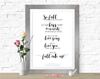 Fall Into Me, Brantley Gilbert song lyrics art, Custom first dance wedding song lyrics art, Wedding Gift, Personalized