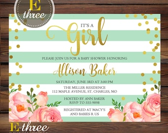 Gold Confetti Baby Shower Invitation, Baby Girl Shower invitations, Pink, Mint & Gold Foil invite