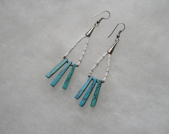 Unique Native Silver Shell & Turquoise Drop Earrings