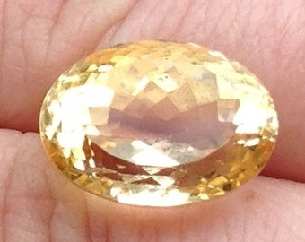 Large Vibrant Citrine 10.9 Carat Oval 12x16mm Natural Yellow Gemstone