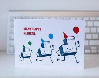 QWERKY computer key greetings card - RETURN