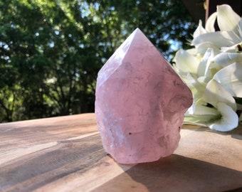 Semi-Polished Rose Quartz Point