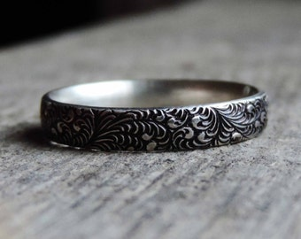 Fern Leaf Garden Pattern Ring Band | Sterling Silver Stacking Ring | Oxidized Patina, Victorian, Wedding Engagement, Custom // Made to Order